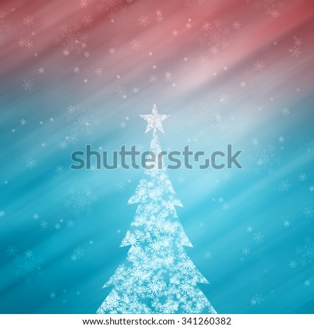 Beautiful snowflake Christmas tree with star shape and lovely bright and shiny cyan blue and purple red color background with blurry snowflakes. Christmas Holiday illustration copy space background. - stock photo