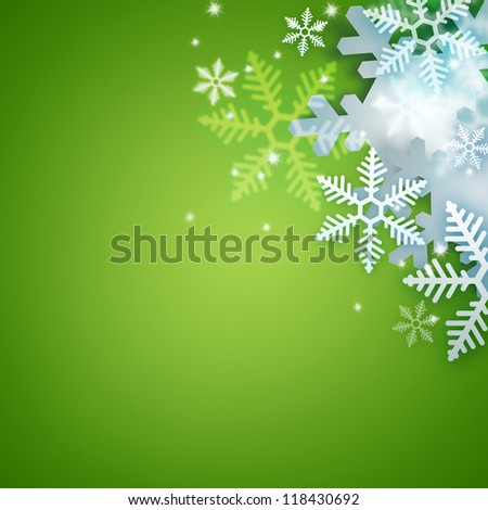 Beautiful snowflake green Christmas background with copyspace - stock photo