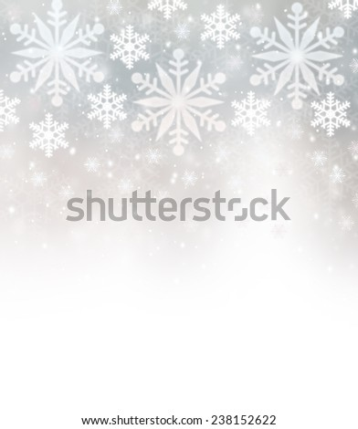 Beautiful snowflakes border with white copy space, festive background, Christmastime greeting card, wintertime decoration - stock photo