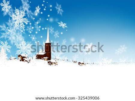 Beautiful Snowy Mountain Village with Azure Blue Sky and Abstract Filigree Falling Snowflakes - Winter, Christmas Season and Greeting Card Template. - stock photo