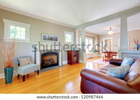 Beautiful soft natural living room interior design with beige and blue. - stock photo