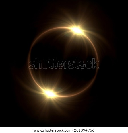 beautiful solar ring lens flare effect is simple to use add on background - stock photo