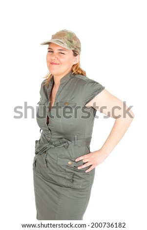 Beautiful Soldier woman doing differnt expressions - stock photo