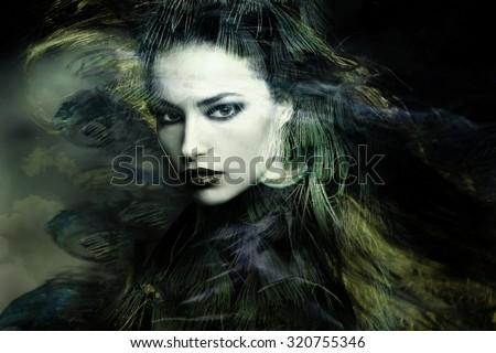 beautiful sorceress woman double exposure portrait - stock photo