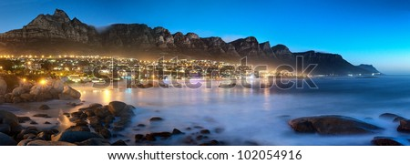 Beautiful South Africa's Cape Town's, Mountain and Sea views. Table Mountain, Lion's head and Twelve Apostles are popular hiking destinations for both locals and tourists all year round - stock photo