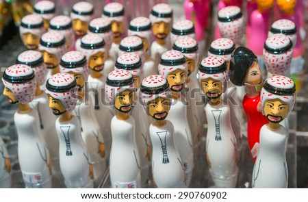 Beautiful souvenirs in the glorious duty free shopping area at Dubai international airport. - stock photo