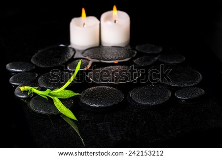 beautiful spa background of green branch bamboo and candles on zen basalt stones with dew in reflection water - stock photo