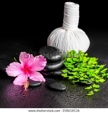 beautiful spa background of pink hibiscus flower, leaf fern, thai herbal compress ball  and stones with drops, close up - stock photo