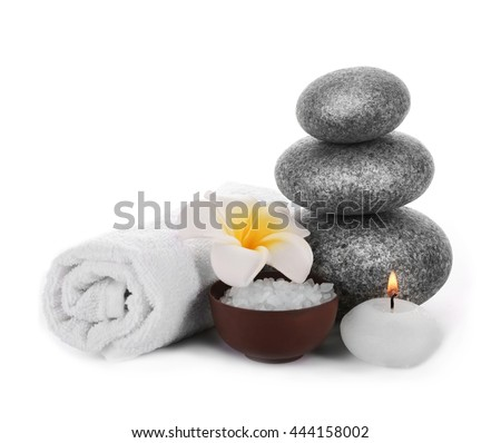 Beautiful spa composition on white background - stock photo