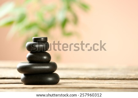 Beautiful spa composition on wooden table, on brown background - stock photo