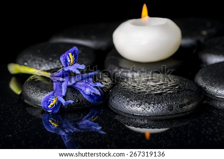 beautiful spa concept of blooming iris flower, candles and black zen stones on reflection water - stock photo