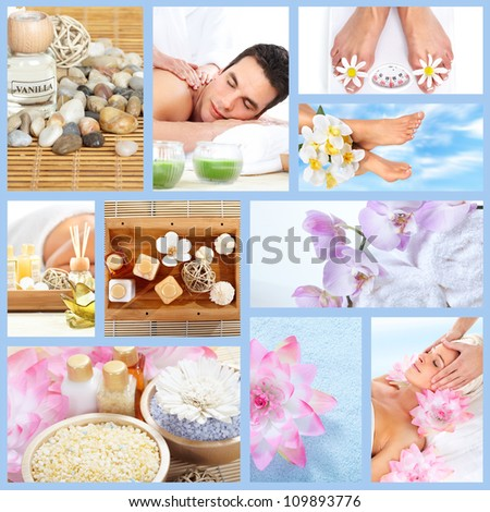 Beautiful Spa massage collage background. Relaxing people. - stock photo
