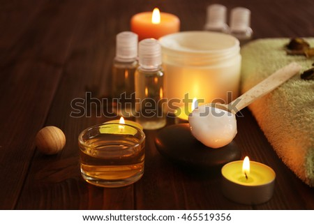 Beautiful spa set on wooden table