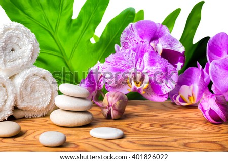 beautiful spa setting of blooming lilac orchid, white stones, towels and big tropical green leaf on root wood background is isolated, close up  - stock photo