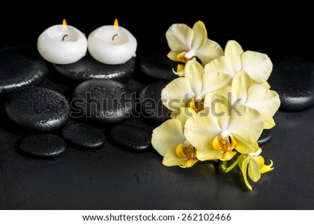 beautiful spa setting of yellow orchid phalaenopsis and candles on black zen stones with drops - stock photo