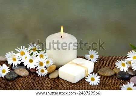 Beautiful spa setting with flower on bamboo mat close up - stock photo