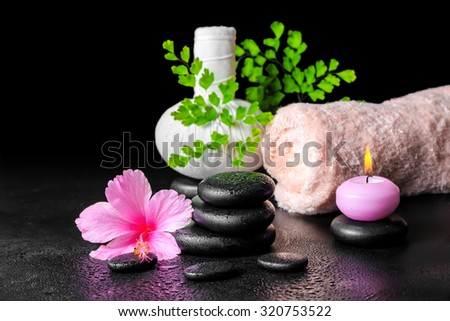 beautiful spa still life of pink hibiscus flower, leaf fern, thai herbal compress ball, towel, candle and stones with dew - stock photo