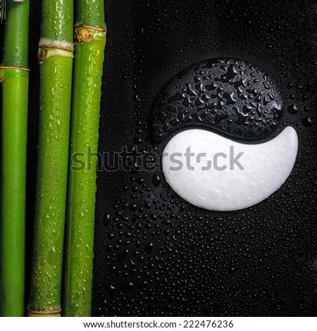 beautiful spa still life of symbol Yin Yang and natural bamboo stems with dew, closeup  - stock photo