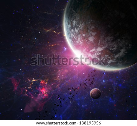 Beautiful space background. Elements of this image furnished by NASA - stock photo