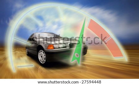 beautiful speed silver sportcar on the road - stock photo