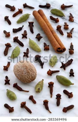beautiful spices, often used to flavor all kinds of food and drinks, on  carrara marble countertop. - stock photo