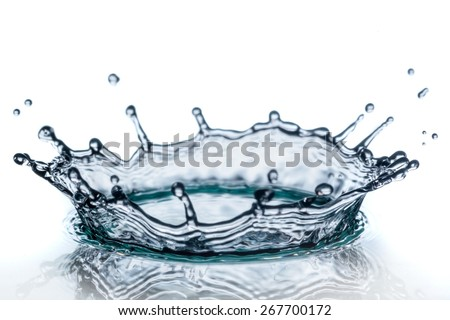 beautiful splash of water blue drops - stock photo