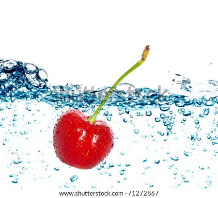 Beautiful splashes and fresh fruit - stock photo
