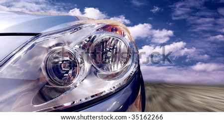 Beautiful sport car on speed - stock photo