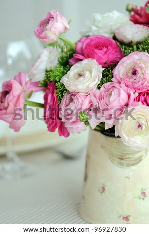 Beautiful spring  bouquet of pink and white ranunculus