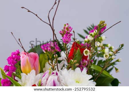 Beautiful spring bouquet to Women's Day. Gentle colors - stock photo