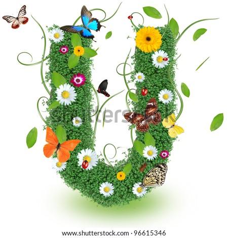 "Beautiful spring letter ""U"" - stock photo"