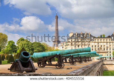 Beautiful spring view of Invalides in Paris, France, with the Eiffel tower in the background - stock photo