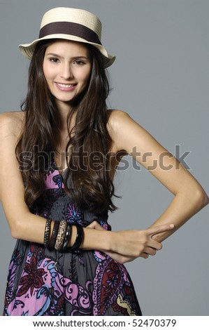 Beautiful spring woman portrait .gray concert - stock photo