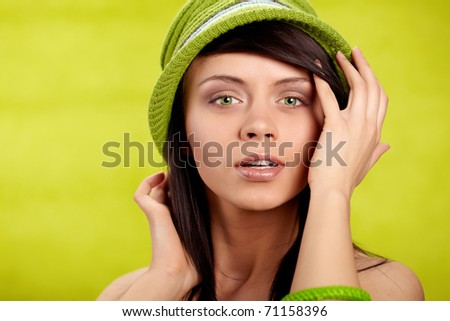 Beautiful spring woman portrait. green concept - stock photo