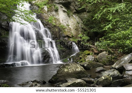 Beautiful Spruce Flat Falls in Great Smoky Mountains National Park, after the spring rains. On the border of North Carolina and Tennessee. - stock photo