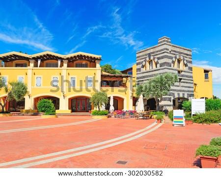 beautiful square in Porto Cervo, Costa Smeralda, Sardinia - stock photo
