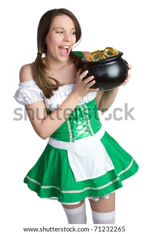 Beautiful St Patrick's Day girl - stock photo