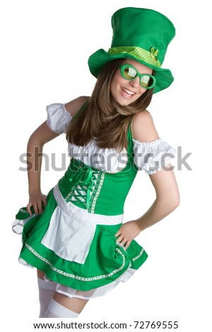 Beautiful st patricks day irish woman - stock photo