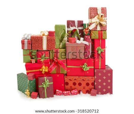 Beautiful stack of christmas presents with ribbons and bows - stock photo