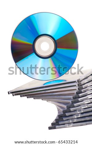 Beautiful stack of disc cases and disc on top isolated on white background - stock photo