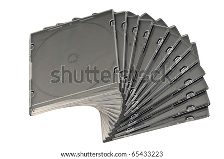 Beautiful stack of disc cases isolated on white background. top view. - stock photo