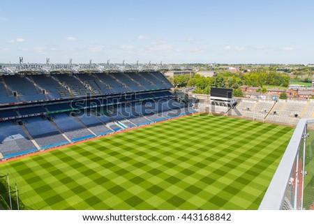 Beautiful stadium panoramic aerial view. Wallpaper taken from drone. - stock photo