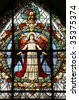Beautiful stained glass window at the German Church (St. Gertrude's church) in Gamla Stan, stockholm. - stock photo