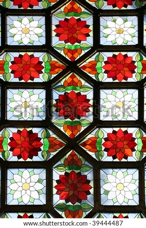 Beautiful stained-glass window in church - stock photo