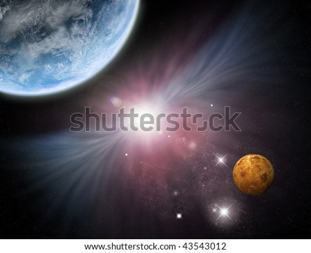 Beautiful star field with planets and nebula - fictional space/scifi scene. - stock photo