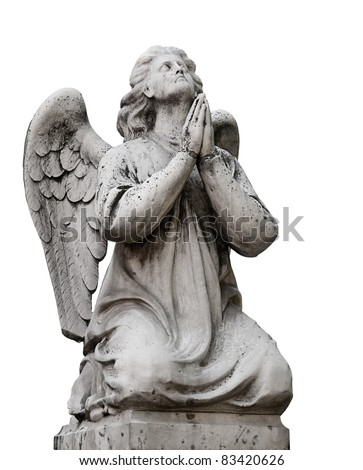 Beautiful statue of the angel praying. Isolated on white background - stock photo