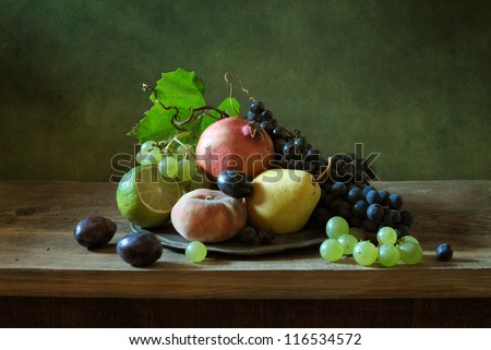 Beautiful still life with fruit - stock photo