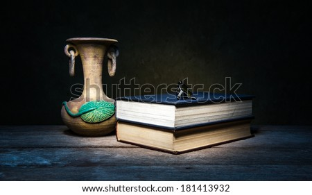 Beautiful still life with Glasses and books