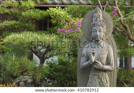 Beautiful stone sculpture of quanyin in Japan.