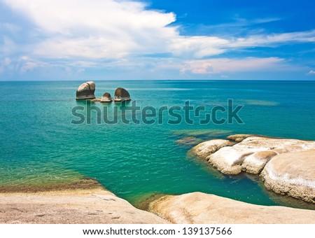 Beautiful stones on Lamai beach, Koh Samui, Thailand - stock photo